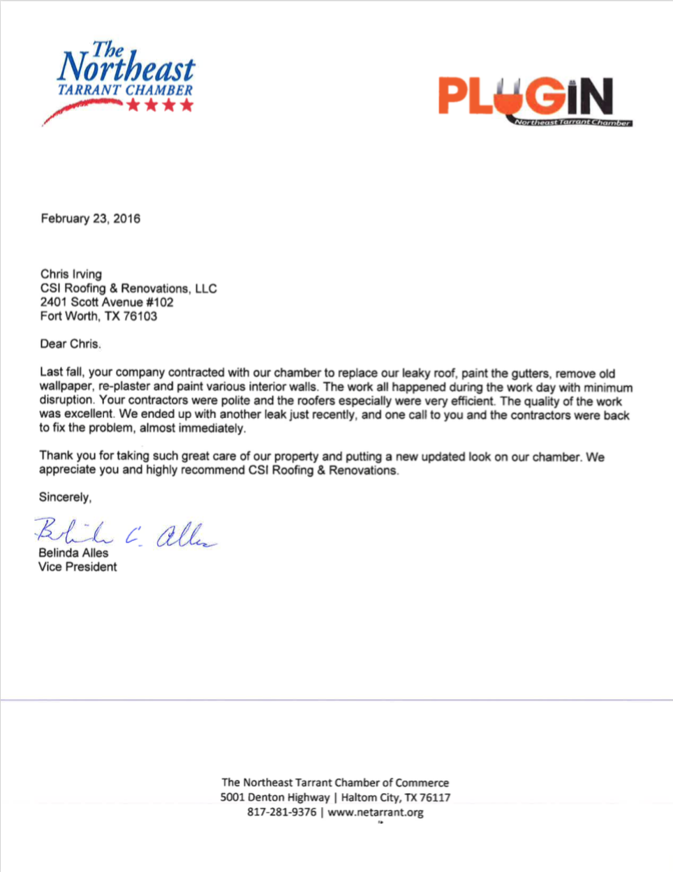 recommendation letter for work done recommendation letter for northeast tarrant chamber of commerce roofing recommendations